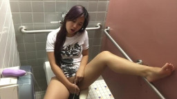 Cute Asian Girl Masturbate in Public College Restroom
