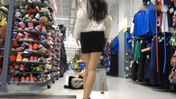 Asian Slut Squirt at Shopping Center at Public