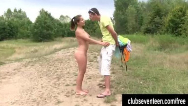 Cute teen Adelle suck and fuck a big cock outdoors