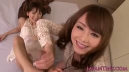 Petite japanese babes share dick in threeway