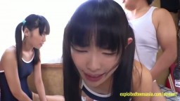Two Jav Teen Schoolgirls Fucked While Leaning Out The Window In Swimsuits