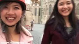 Sweet asian teens share a cock in a threesome
