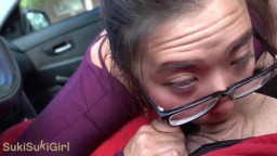 Public DEEPTHROAT in CAR while driving 18 yr old asian chokes on cock