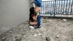 Wuhan Couple Sex on the Top Floor of Commercial Building