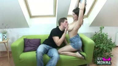Horny teen with sexy tits fucks step brother