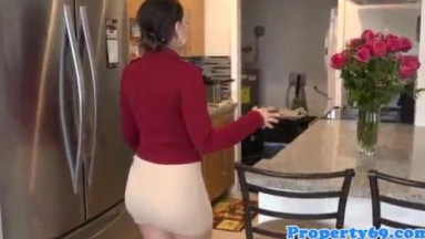 Curvy realtor doggystyled after cocksucking